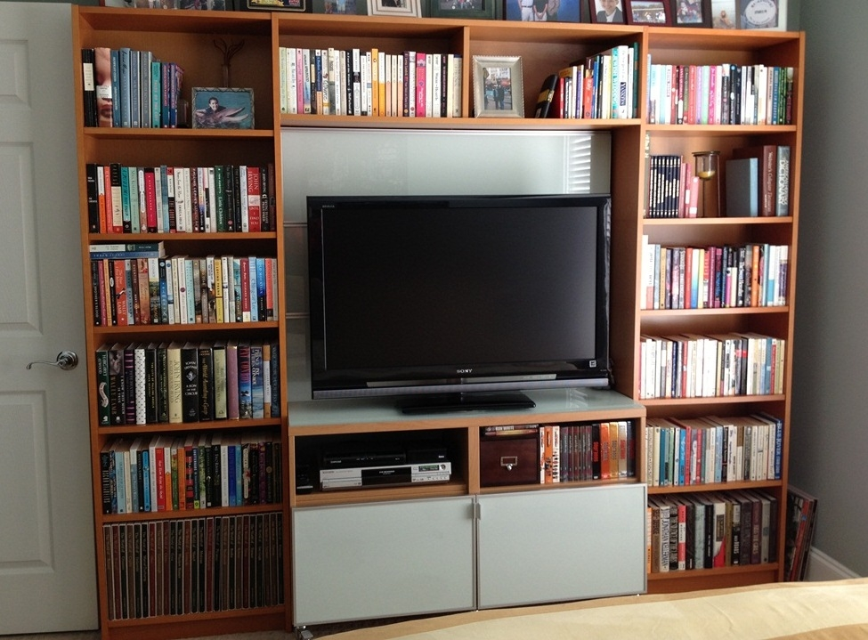 Brilliant High Quality TV Stands And Bookshelf Within Billy Library To Entertainment Center Ikea Hackers Ikea Hackers (Image 9 of 50)