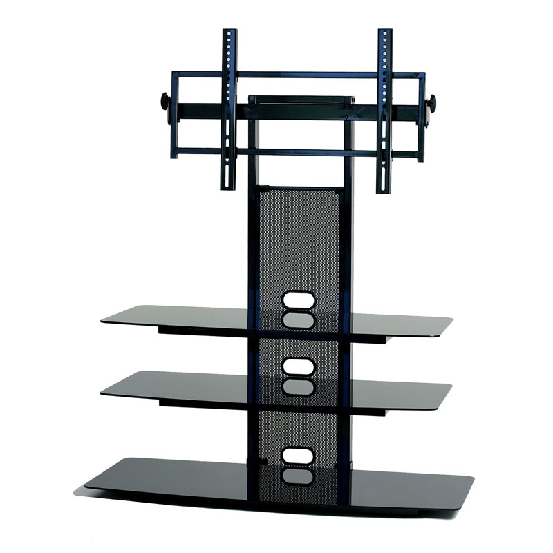 Brilliant High Quality TV Stands With Mount In Transdeco Black Glass Tv Stand With Integrated Flat Panel Mount (Image 10 of 50)