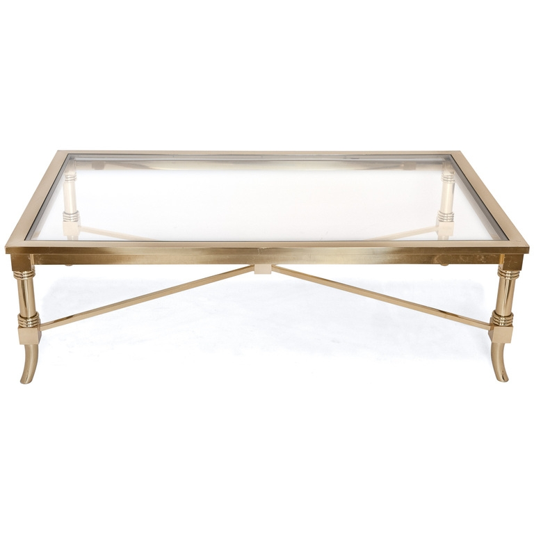Brilliant High Quality Vintage Glass Coffee Tables Regarding Vintage Brass Glass Coffee Table Ideas (Image 9 of 50)