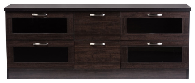 Brilliant High Quality Wooden TV Cabinets With Glass Doors In Adelino 63 Inches Dark Brown Wood Tv Cabinet 4 Glass Doors  (Image 17 of 50)