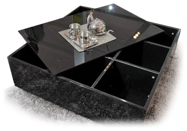 Brilliant Latest Black Coffee Tables With Storage Throughout Exellent Black Coffee Table With Storage I Decorating Ideas (Image 9 of 40)