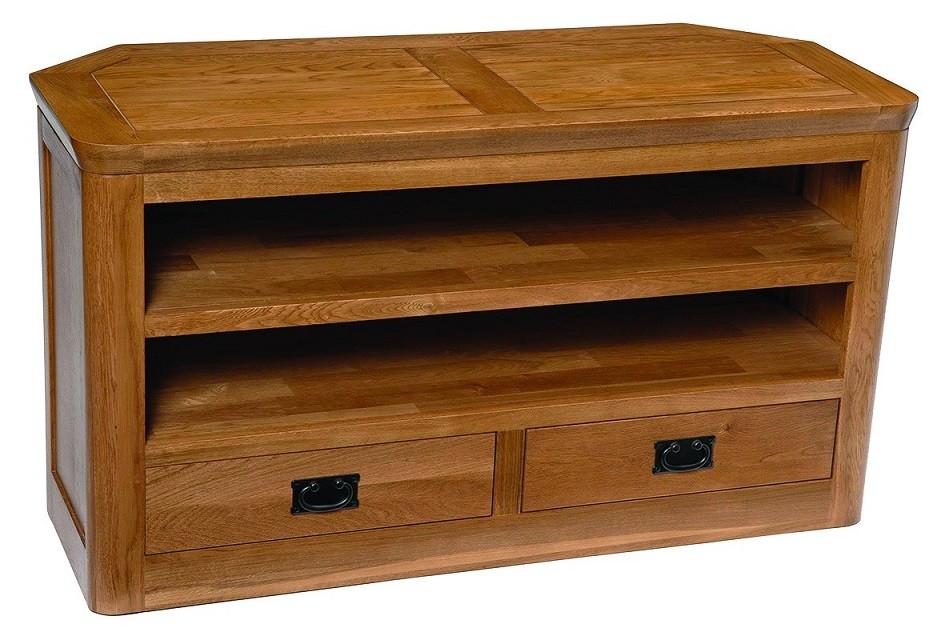 Brilliant Latest Corner Oak TV Cabinets Inside London Dark Oak Large Corner Tv Unit Hallowood (Image 12 of 50)