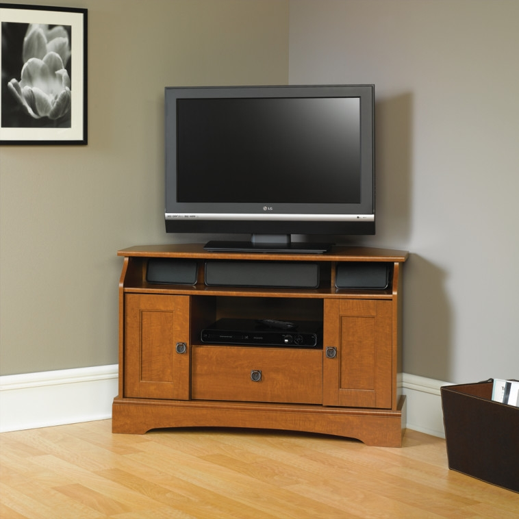 Brilliant Latest Corner TV Cabinets For Flat Screens With Doors For Bedroom Modern Black Tone Media Stand With Mounted Flat Screen Tv (Image 12 of 50)