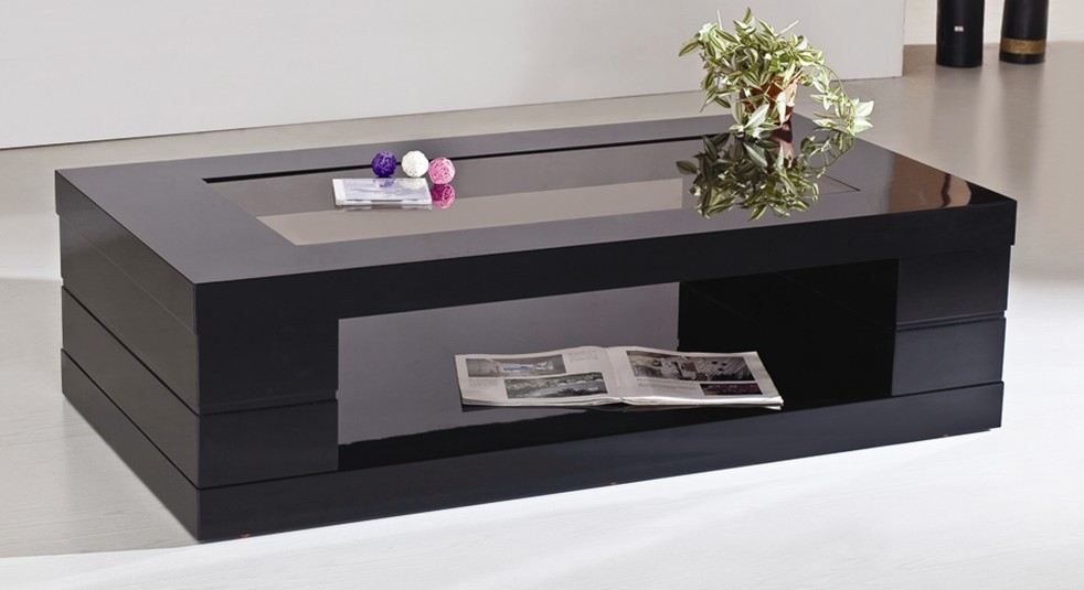 Brilliant Latest Dark Glass Coffee Tables Pertaining To Square Black Coffee Table (Image 16 of 50)