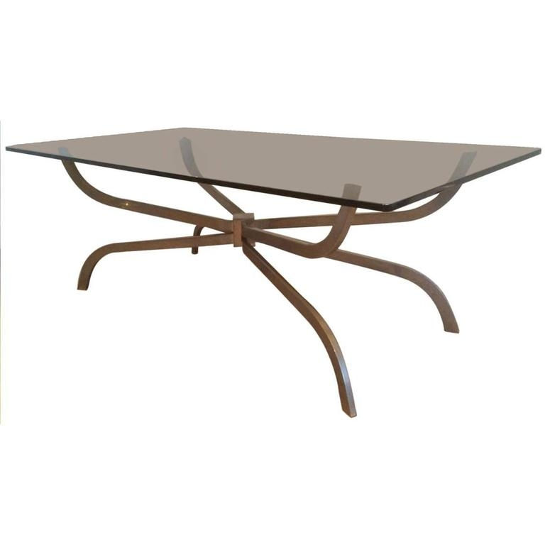 Brilliant Latest Glass Steel Coffee Tables Pertaining To Mid Century Modern Brushed Steel And Glass Coffee Table Maison (Image 8 of 50)