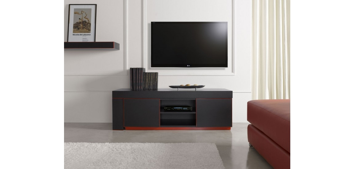 Brilliant Latest Red Modern TV Stands With Regard To Inessa Modern Long Tv Stand In Red And Black Finish (Image 5 of 50)