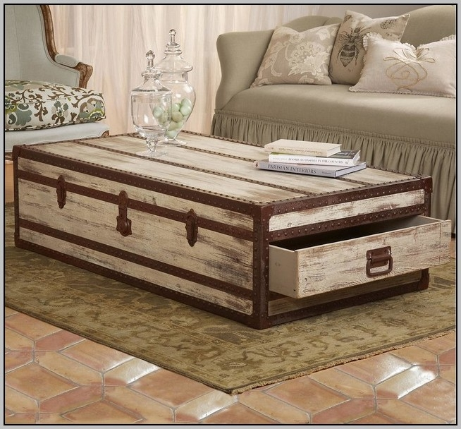 Brilliant Latest Trunk Coffee Tables Intended For Rustic Oak Trunk Coffee Table Coffee Table Home Decorating (Image 12 of 50)