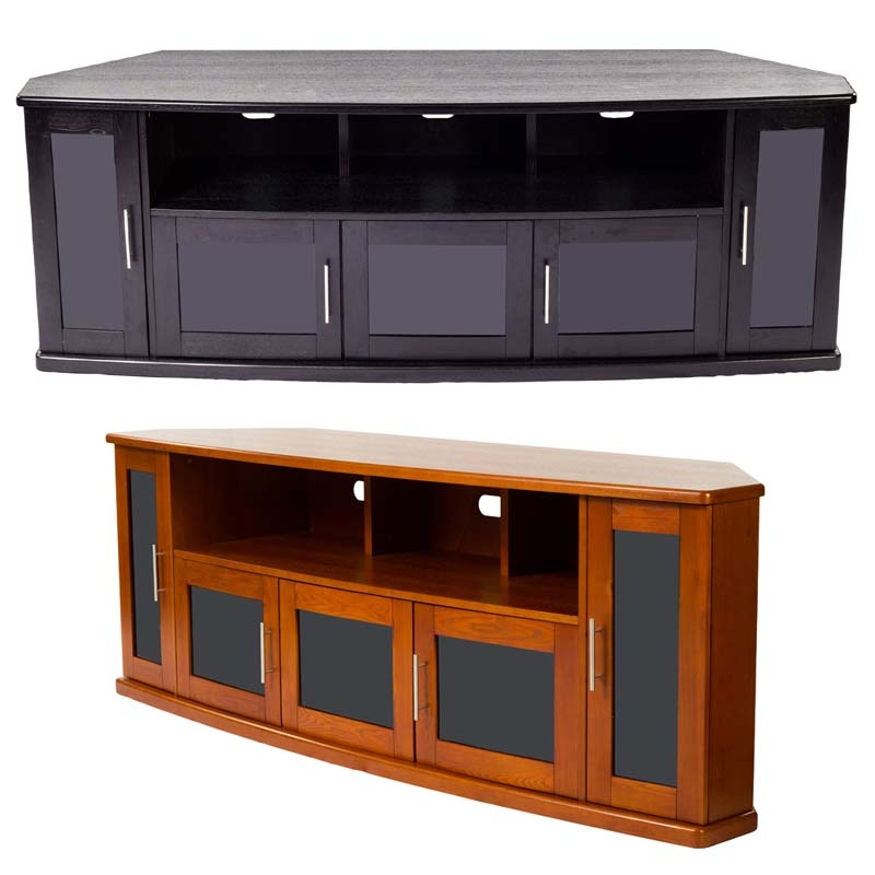 Brilliant New Black TV Stands With Glass Doors With Regard To Plateau Newport Series Corner Wood Tv Cabinet With Glass Doors For (Image 9 of 50)