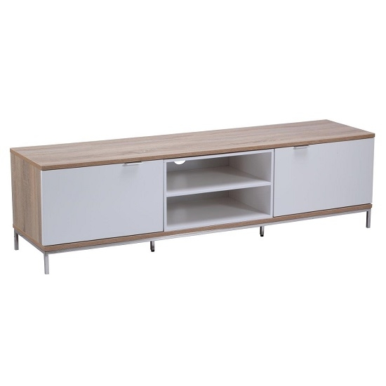 Brilliant New Mango Wood TV Cabinets Intended For Nelson Wooden Tv Cabinet Medium In White And Light Oak (Image 9 of 50)