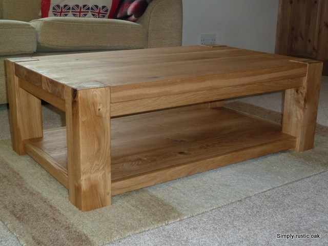 Brilliant New Oak Coffee Table With Shelf Throughout Handmade Rustic Oak Plank Coffee Tables Handmade Rustic Oak (Image 7 of 50)