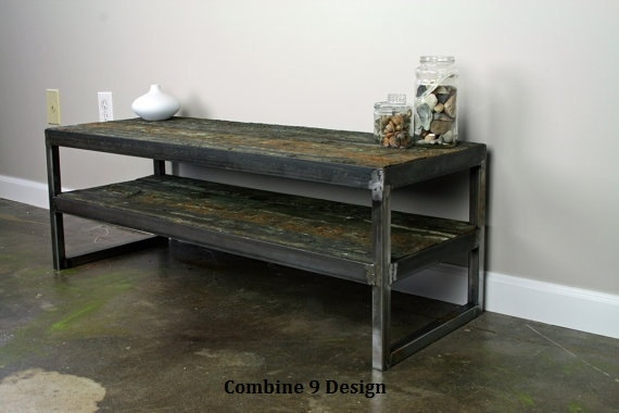 Brilliant New Reclaimed Wood And Metal TV Stands With Vintage Industrial Tv Stand Reclaimed Wood Steel Mid (Image 12 of 50)