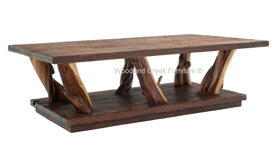 Brilliant New Rustic Style Coffee Tables Within Rustic Log Coffee Table Free Form Style Woodland Creek Furniture (View 7 of 50)