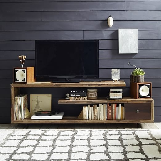 Brilliant New Single Shelf TV Stands Intended For Staggered Wood Console Tv Stands Consoles And Drawers (View 19 of 50)