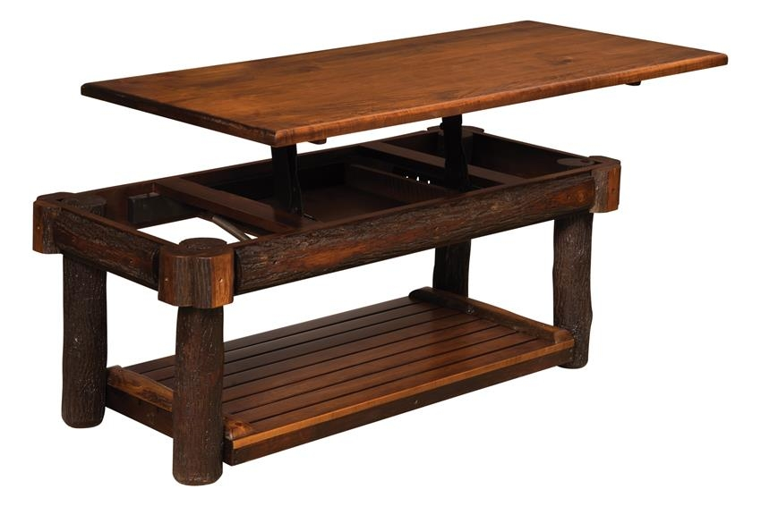 Brilliant Popular Coffee Tables With Lifting Top Within Rustic Hickory Lift Top Coffee Table From Dutchcrafters Amish (View 24 of 50)