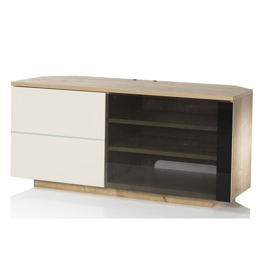 Brilliant Popular Cream Gloss TV Stands Within Mayfair Corner Tv Cabinet In Oak And Cream Gloss With  (Image 11 of 50)