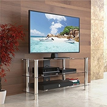 Brilliant Popular Glass TV Stands For Amazon Walker Edison 44 Glass Corner Tv Stand Silver (View 33 of 50)