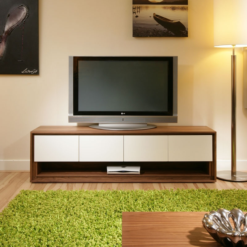 Brilliant Popular Large White TV Stands Within Large Tvtelevision Standcabinetcabinetsunit Walnut Off White (Image 13 of 50)