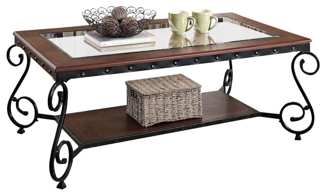 Brilliant Popular Metal Coffee Tables With Glass Top Throughout Cherry Beading Design Metal Frame Glass Top Wood Shelf Coffee (Image 12 of 50)
