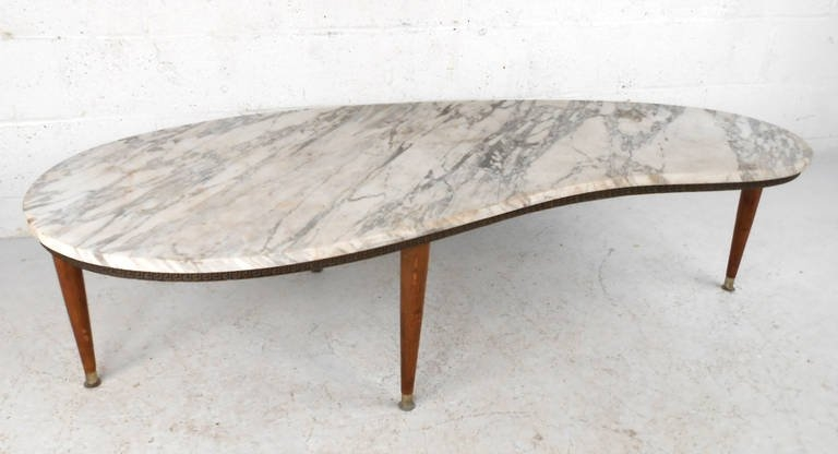 Brilliant Popular Oval Shaped Coffee Tables Throughout Mid Century Modern Italian Marble Kidney Shaped Coffee Table At (View 34 of 50)