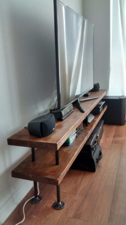 Brilliant Popular Slim TV Stands Within Industrial Pipe And Wood Tv Stand Media Console (Image 13 of 50)