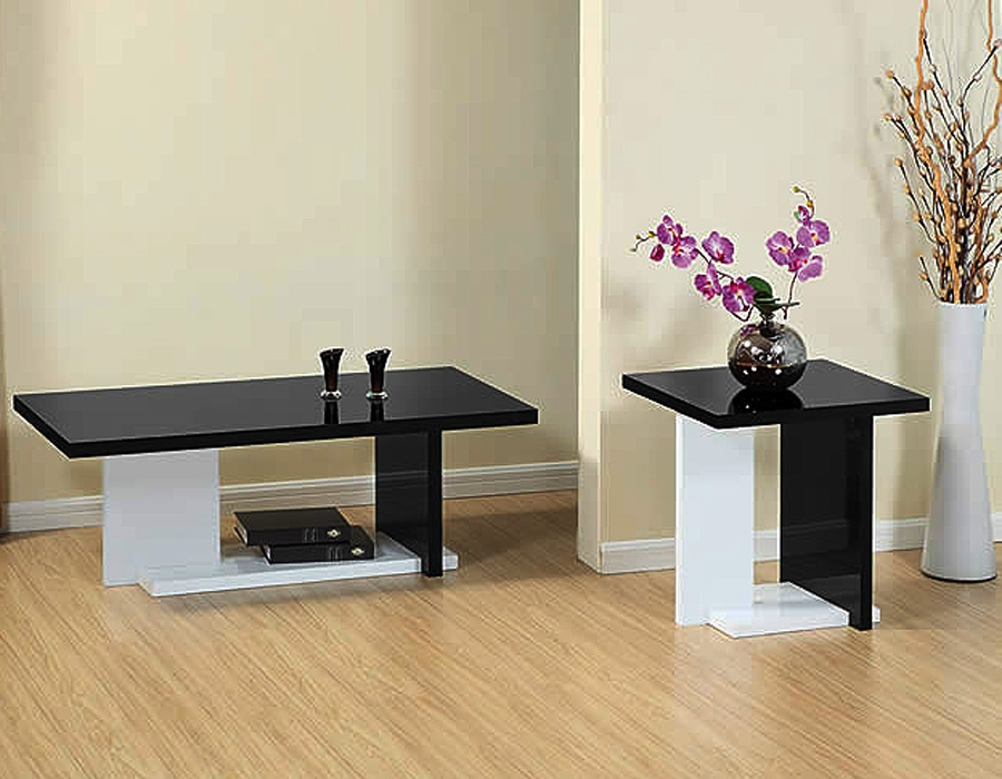Brilliant Popular White And Black Coffee Tables In Black Living Room Table Set Black Living Room Table Set Black (Image 12 of 40)