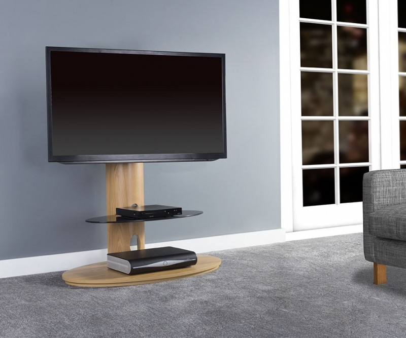 Brilliant Popular Wooden TV Stands With Wheels In Tv Stands 10 Favorite Modern Universal Pedestal Tv Stand Gallery (Image 9 of 50)