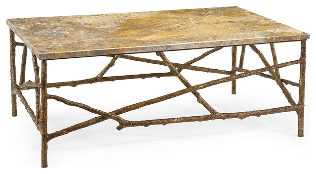 Brilliant Preferred Antique Rustic Coffee Tables Regarding Sun Valley Rustic Lodge Antique Gold Marble Branch Coffee Table (Image 14 of 50)