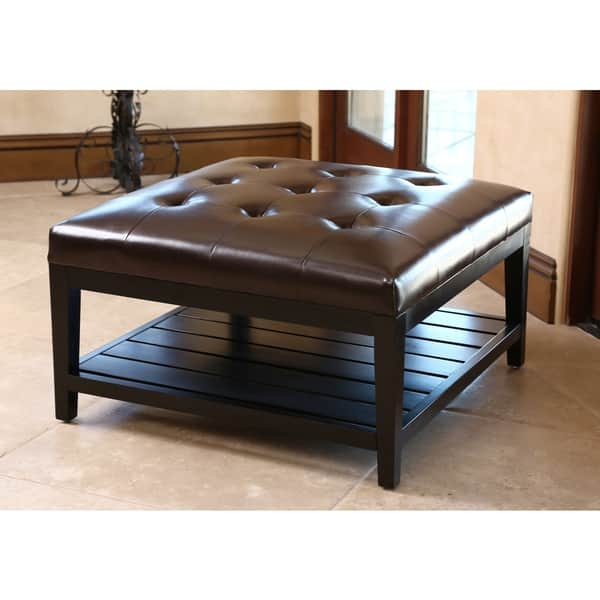 Brilliant Preferred Dark Brown Coffee Tables In Abson Manchester Dark Brown Leather Square Coffee Table Ottoman (View 16 of 50)
