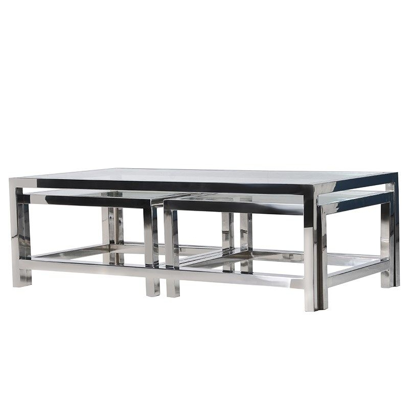 Brilliant Preferred Glass Steel Coffee Tables Inside Glass Metal Coffee Table (Image 9 of 50)