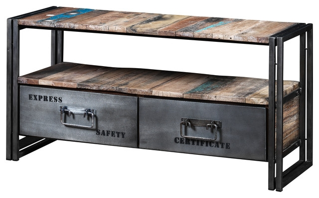 Brilliant Preferred Industrial Metal TV Stands Regarding Boris Recycled Wood And Metal 2 Drawer Tv Unit Industrial (Image 11 of 50)