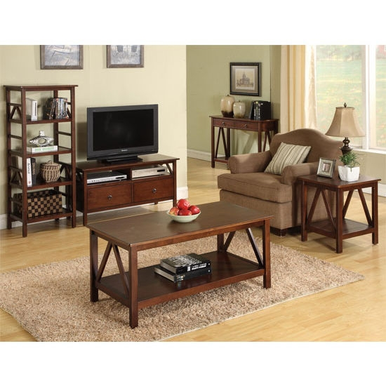 Brilliant Preferred TV Stands Coffee Table Sets Throughout Linon Titian Coffee Table Antique Tobacco With Free Shipping (Image 12 of 50)