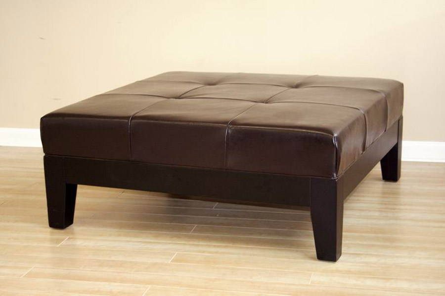 Brilliant Premium Brown Leather Ottoman Coffee Tables With Storages Pertaining To Brown Leather Ottoman Coffee Table (Image 9 of 40)