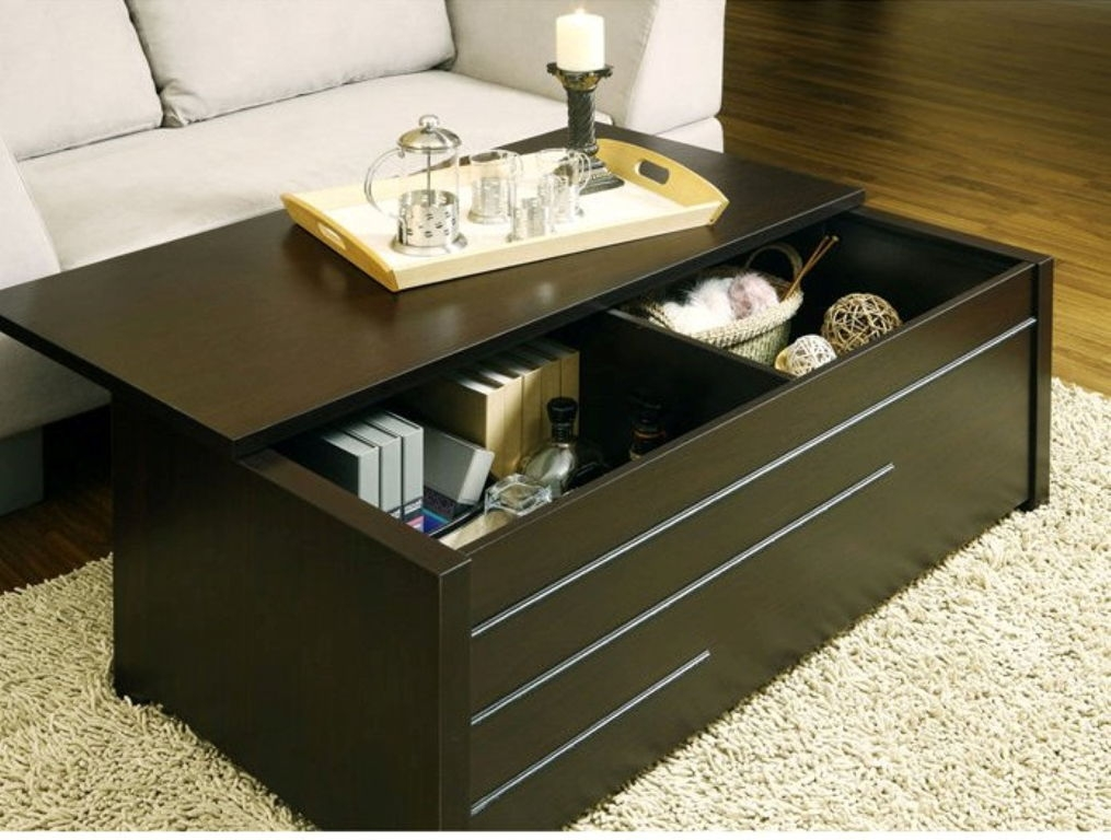 Brilliant Premium Dark Wood Coffee Table Storages Inside Dark Storage Table For Living Room Stunning Storage Tables For (Image 10 of 50)