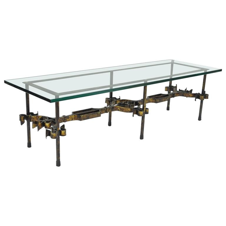 Brilliant Premium Iron Glass Coffee Table Within Ornate Hollywood Regency Gold Gilt Scrolling Iron Rectangular (Image 10 of 50)