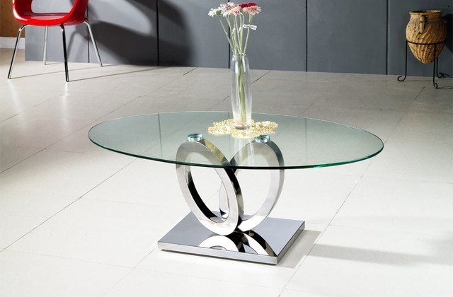 Brilliant Premium Modern Chrome Coffee Tables Throughout Very Chic And Charming Oval Glass Coffee Table The Home Redesign (Image 10 of 40)