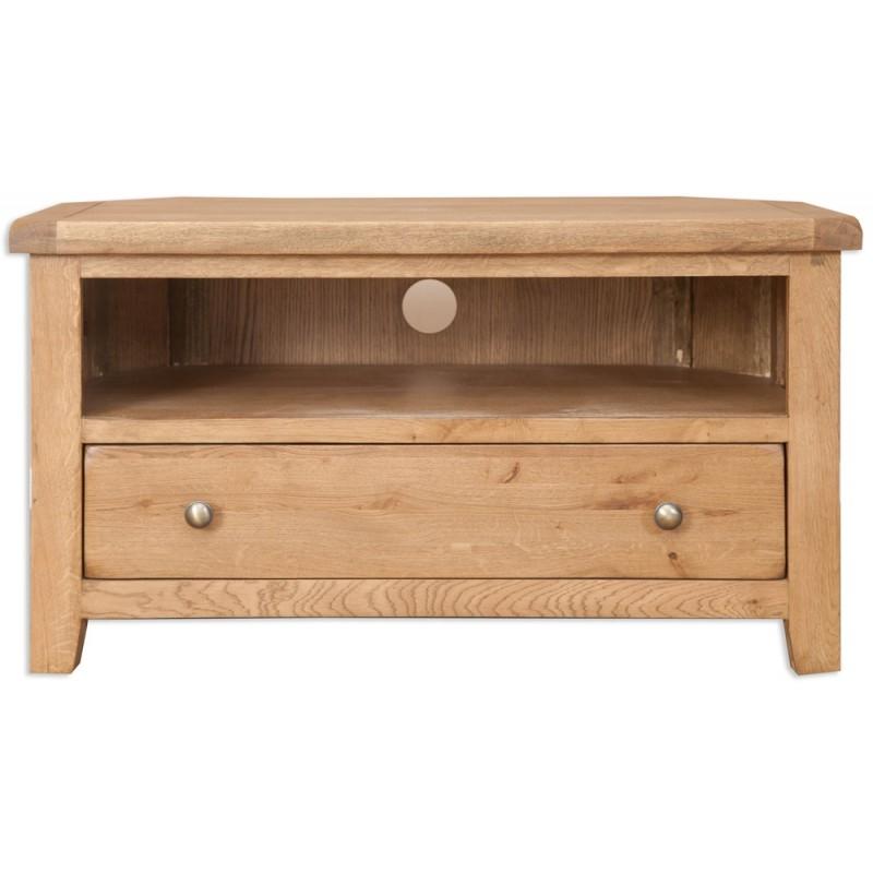 Brilliant Premium Oak Corner TV Cabinets In Porto Country Oak Corner Tv Cabinet (Image 9 of 50)