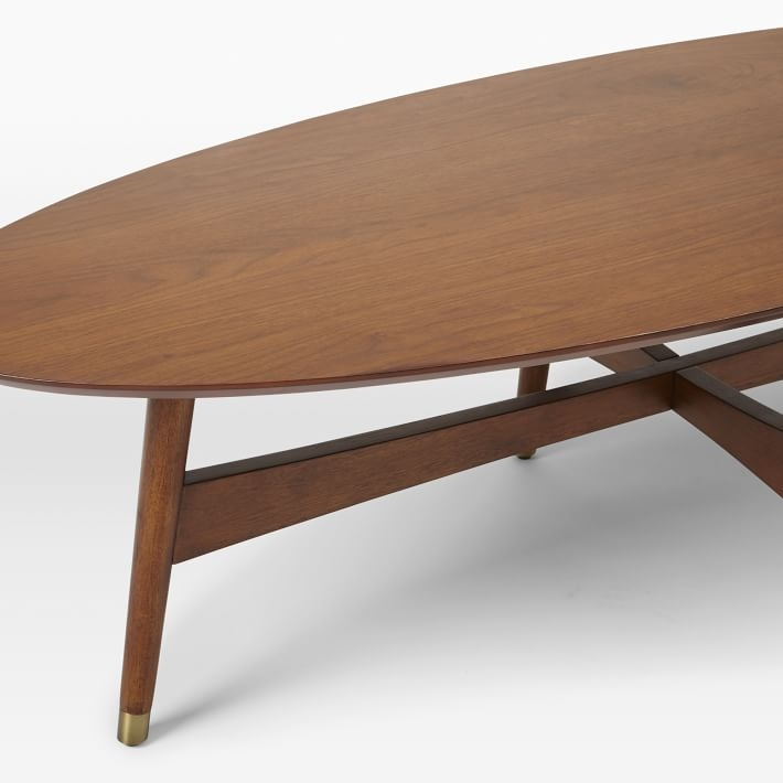 Brilliant Premium Oval Walnut Coffee Tables With Regard To Reeve Mid Century Oval Coffee Table Pecan West Elm (Image 8 of 50)