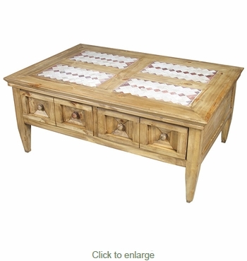 Brilliant Premium Pine Coffee Tables With Regard To Drawer Rustic Pine Coffee Table With Southwest Tile Top (Image 14 of 50)