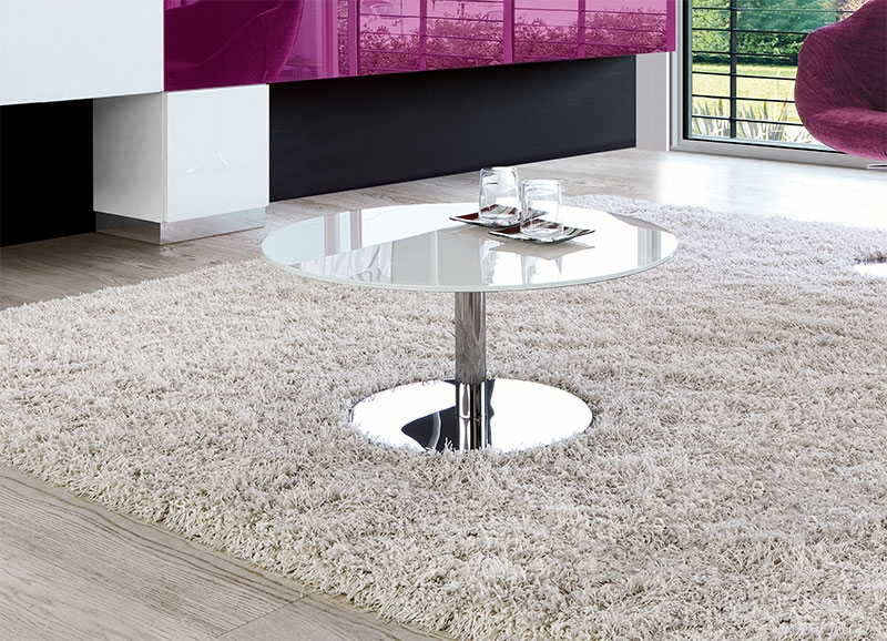 Brilliant Premium Round Chrome Coffee Tables With Regard To Modern Unico Circus Glass Round Coffee Table With Chrome Base (Image 8 of 50)