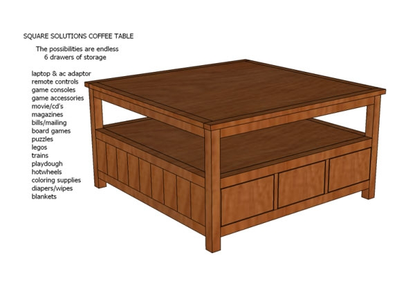 Brilliant Premium Square Coffee Tables With Drawers Intended For Ana White Square Solutions Coffee Table Plans Diy Projects (View 11 of 40)