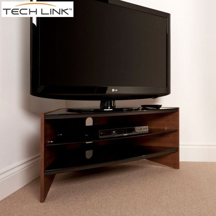 Brilliant Premium Techlink Riva TV Stands Throughout Techlink Rv100w Riva Corner Tv Stand In Walnut And Black Glass (Image 8 of 50)