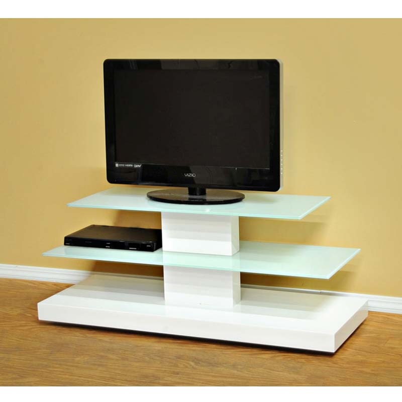 Brilliant Premium TV Stands White Regarding Design 2 Fit Frosted Glass 50 Inch Tv Stand White D2f (View 33 of 50)