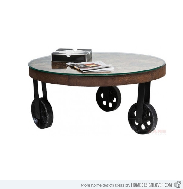 Brilliant Premium Wheels Coffee Tables Regarding Round Coffee Table With Wheels Arlene Designs (View 32 of 50)