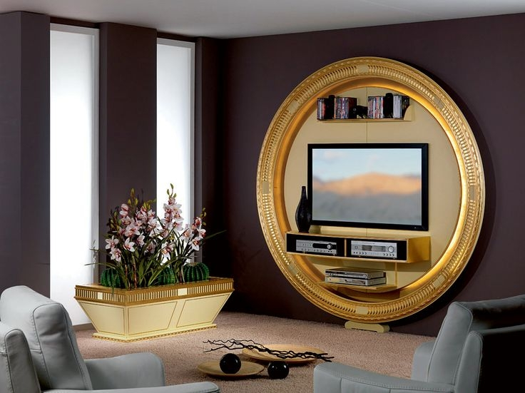 Brilliant Series Of Art Deco TV Stands Throughout Tv Stand With Round Shape In Art Deco Style Gold And Cream (Image 10 of 50)