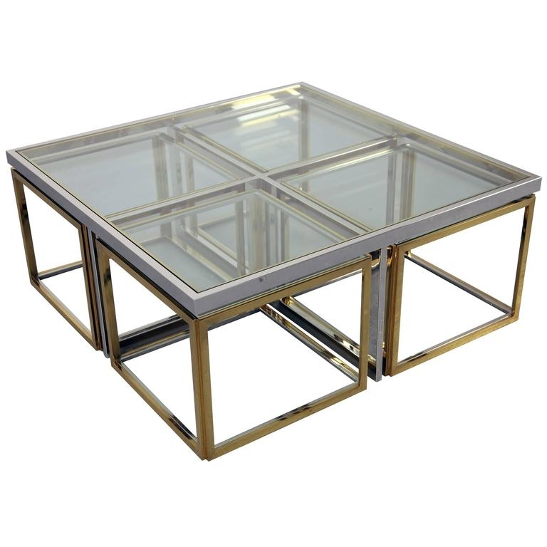 Brilliant Series Of Chrome Coffee Tables With Chrome Coffee Table With Four Brass Nesting Tables Maison (Image 11 of 50)