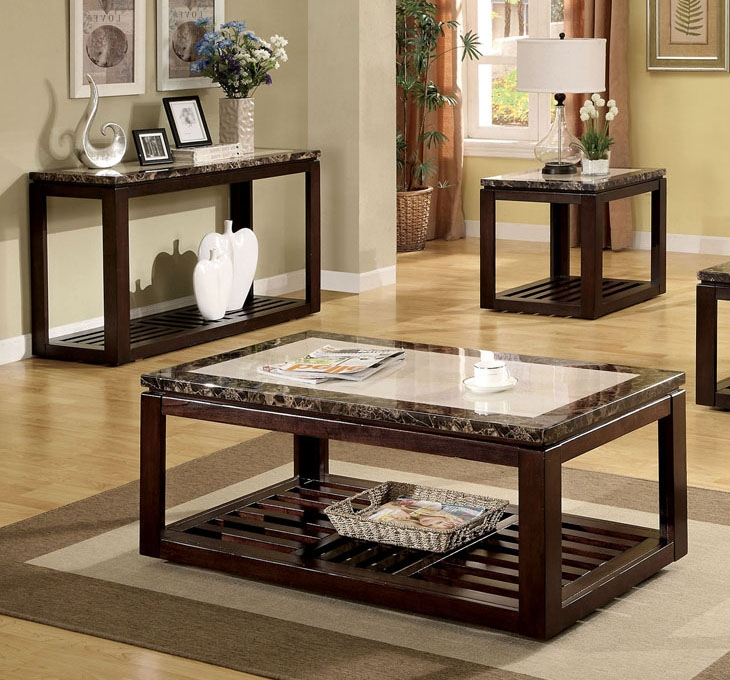 Brilliant Series Of Coffee Tables And Side Table Sets Pertaining To Coffee Table Coffee And Side Table Set Faux Marble Dark Walnut (Image 12 of 50)