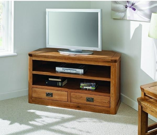 Brilliant Series Of Dark Wood Corner TV Cabinets Pertaining To Fabriks Country Ways Oak Kemptown Oak Corner Tv Cabinet (Image 10 of 50)