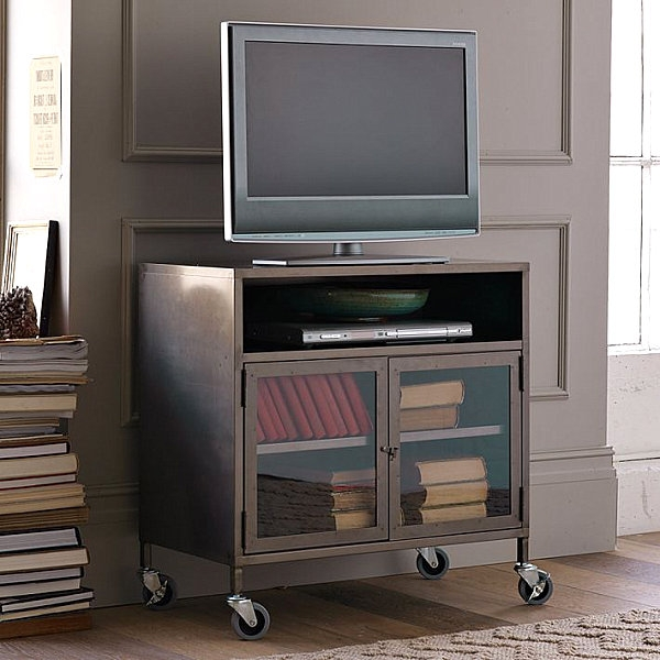 Brilliant Series Of Industrial Metal TV Cabinets Pertaining To Furnitures Small Industrial Metal Tv Cart On Wheels Plus Wood (Image 11 of 50)