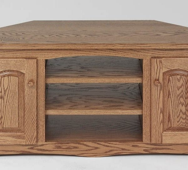 Brilliant Series Of Real Wood Corner TV Stands Within Solid Wood Oak Country Corner Tv Stand Wcabinet 55 The Oak (Image 13 of 50)