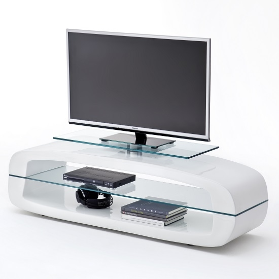 Brilliant Series Of White Glass TV Stands With Warmingham Modern Glass Tv Stand In High Gloss White  (Image 17 of 50)